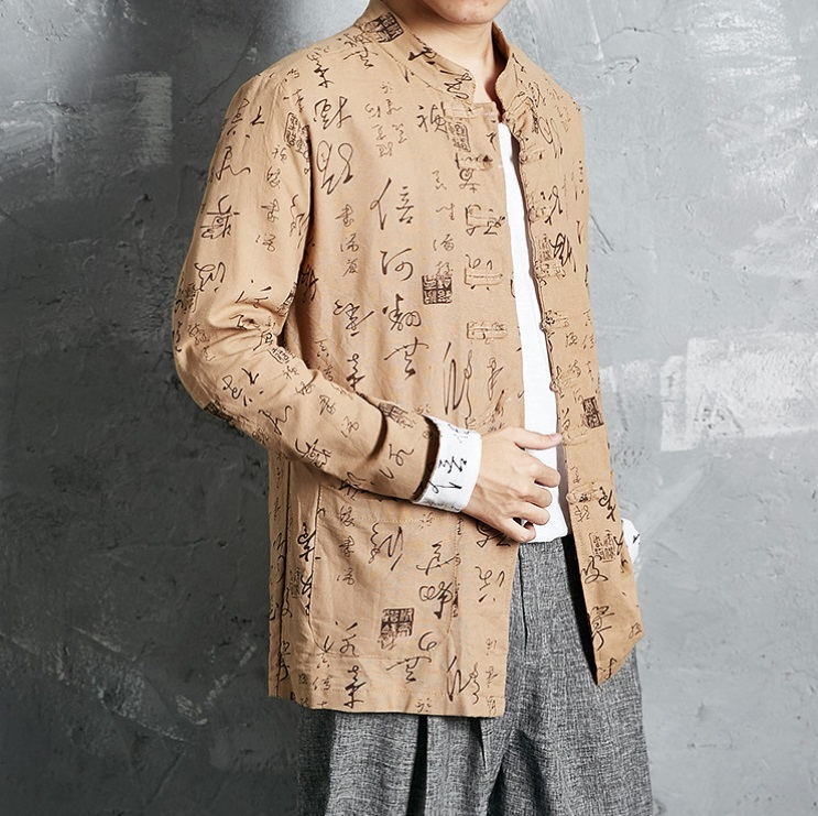 2017 Hanfu Costume Chinese character printing hemp Tang suit Ancient Chinese Dynasties dress Chinese cultural clothes in Sets from Novelty Special Use
