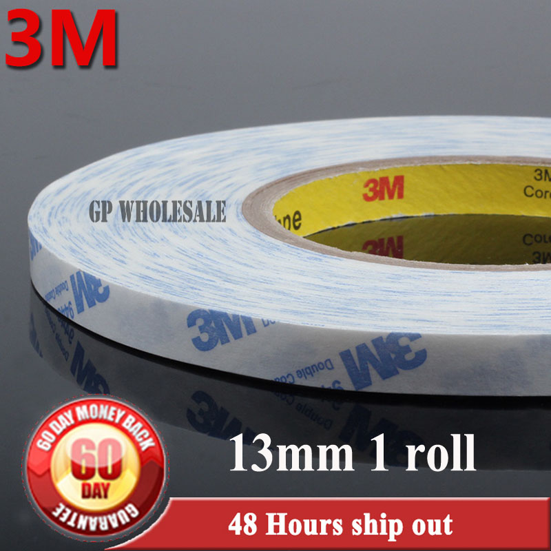 1x 13mm* 50M 3M Double Sided Sticky Tape for LED LCD /Screen /Rubber Strip /Nameplate /Control Pannel Adhesive 9448A White 6mm 50m 3m double sided adhesive brand tape for apple samsung htc tablet touch dispaly screen rubber repair 9448a white