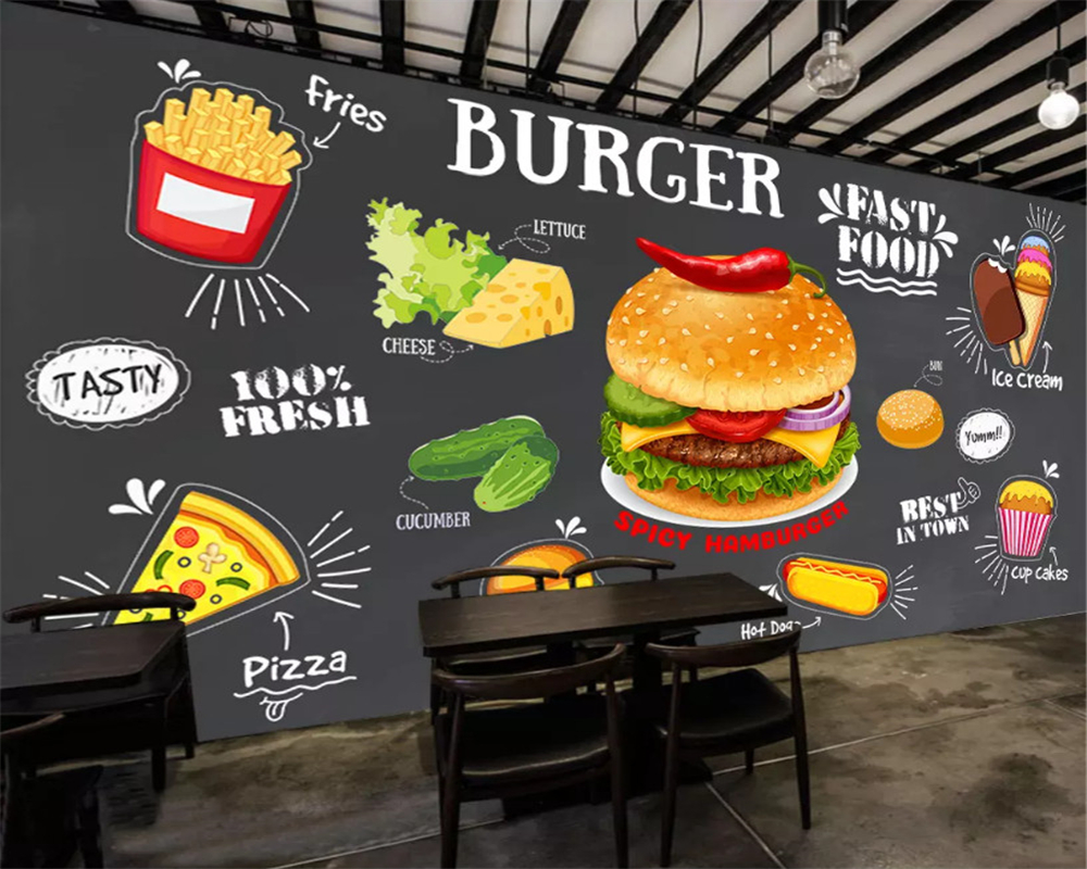 beibehang Custom Blackboard wall papers home decor Fried Chicken Gourmet Tools French Fries Background Wallpaper Home Decor in Wallpapers from Home Improvement