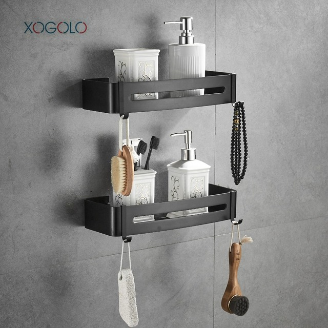 XOGOLO 2 Tier Bathroom Shower Shelf Black Rectangular Wall Shower ...