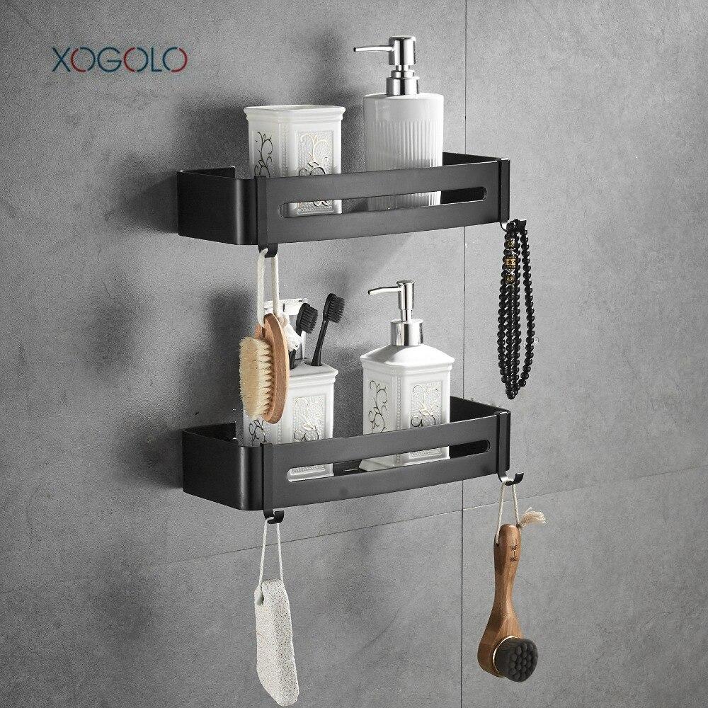 XOGOLO 2 Tier Bathroom Shower Shelf Rectangular Wall Shower Caddy ...