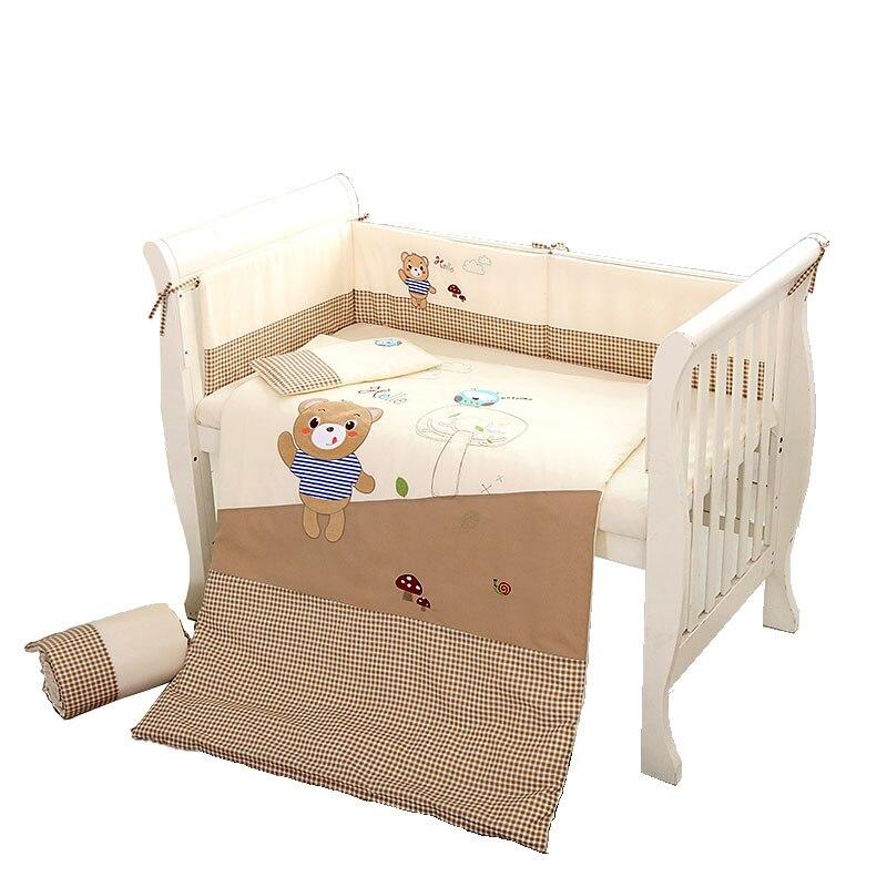 Baby Bedding Set 7pcs Baby Crib Cotton Bedding Detachable set