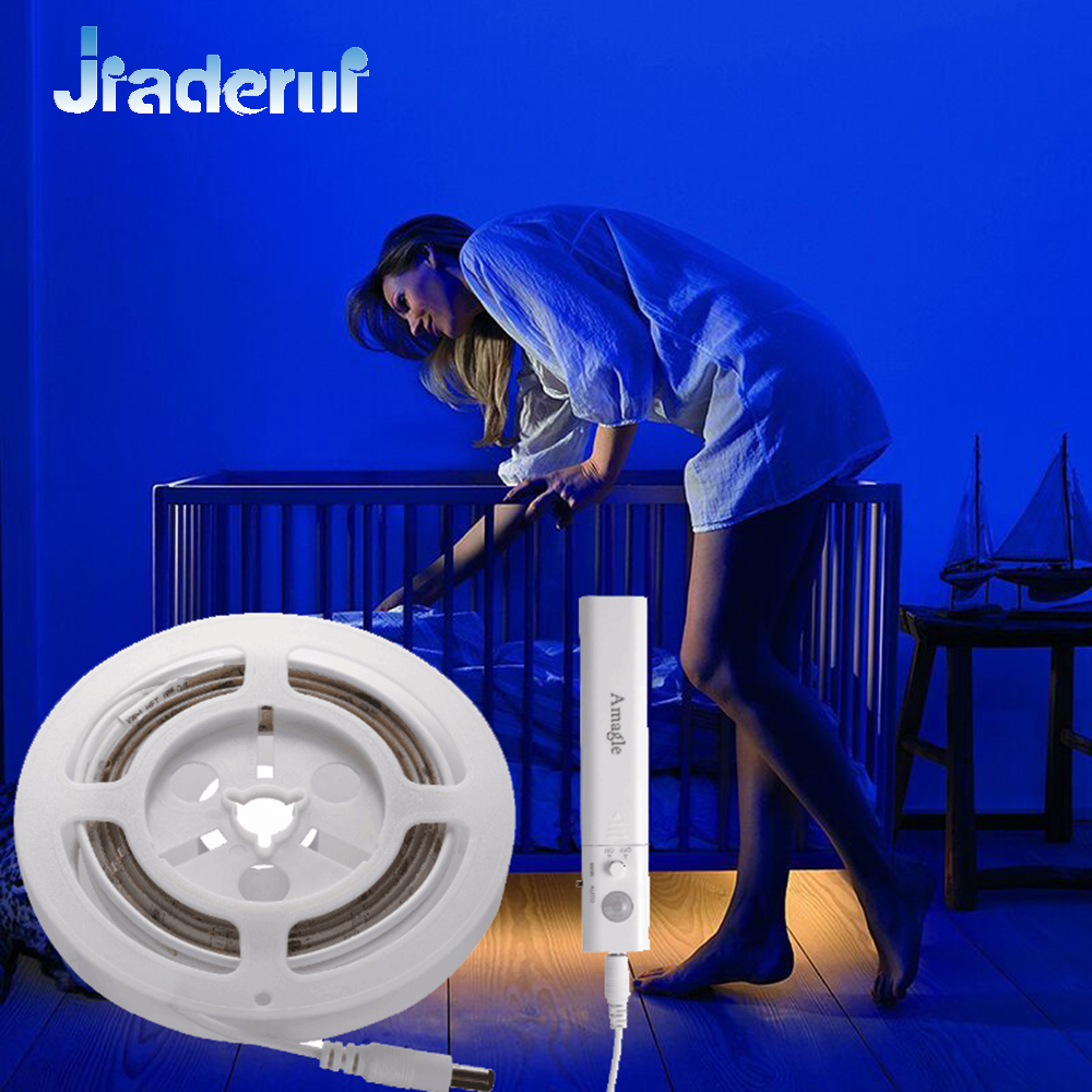 Jiaderui LED PIR Motion Activated Night Light Flexible LED Flash Light Strip Motion Sensor Automatic ON/OFF for Bed Stair Lights 1x led night light lamps motion sensor nightlight pir intelligent led human body motion induction lamp energy saving lighting