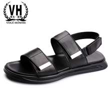 Mens Sandals Summer Leather Leisure Slipper Beach Thick sole mens gladiator sandals summer genuine leather beach
