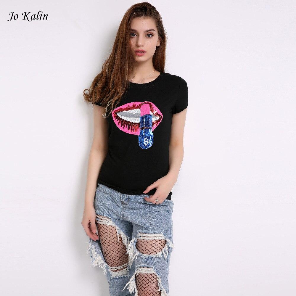 c45d1cf07d Hot Sale 2018 T-shirt para as mulheres verão de manga curta lantejoulas  lábios vermelhos da camisa das senhoras t harajuku preto cinza top de  fitness tees .