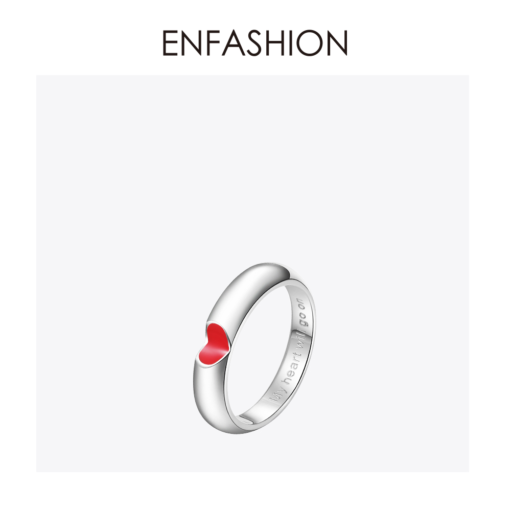 EnFashion red heart ring love finger couple rings for women Cute wedding ring stainless steel Fashion jewelry wholesale R1590