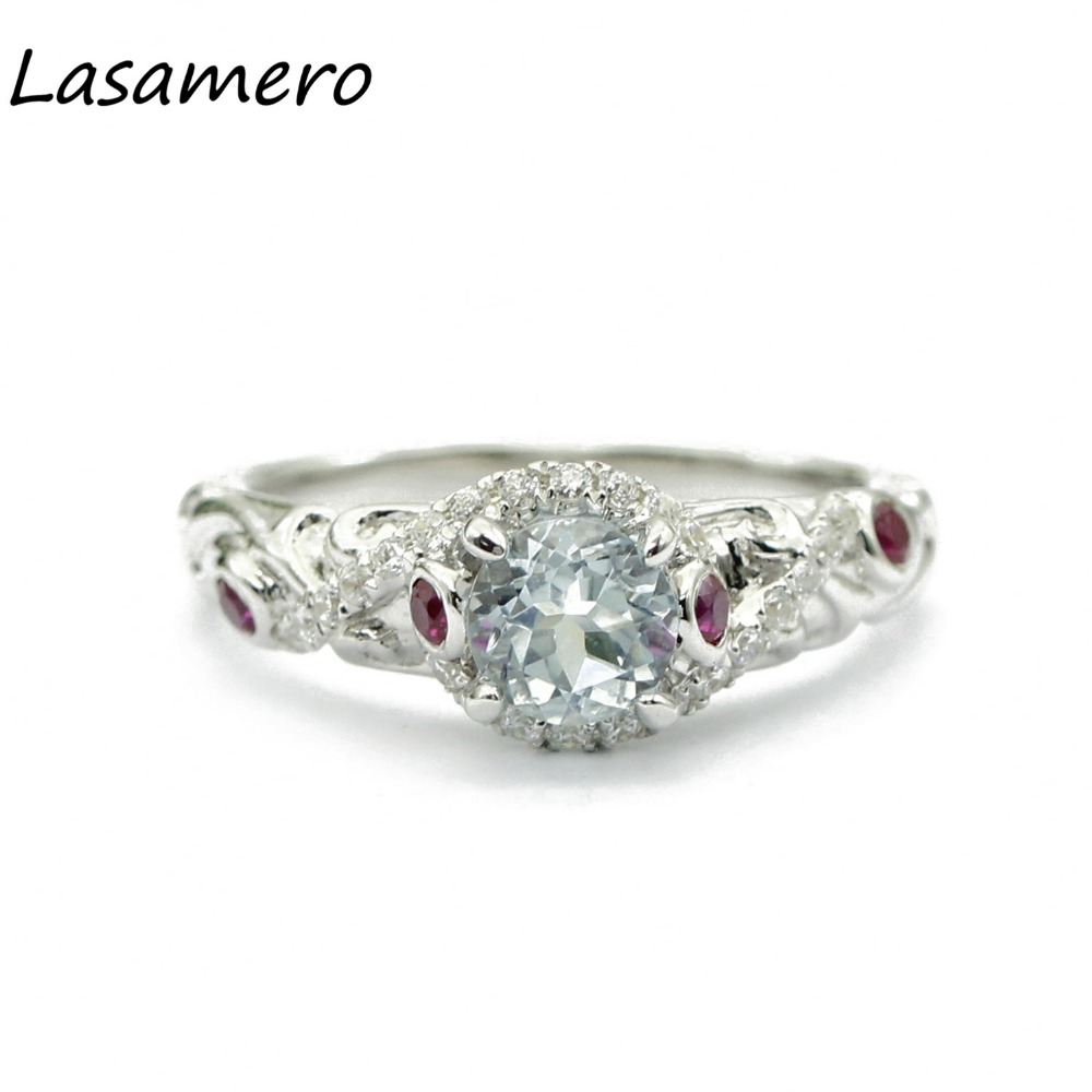 LASAMERO Rings for Women 0.6CT Round Cut Natural Diamond Rings 925 Silver Engagement Wedding Rings