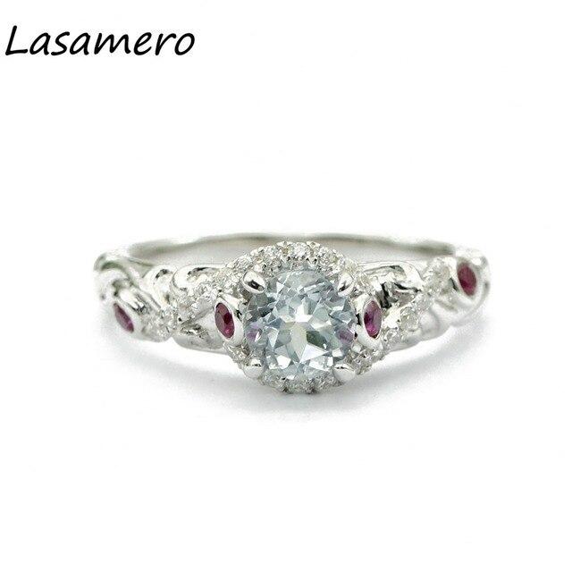 Lasamero Rings For Women 0 6ct Round Cut Natural Diamond 925 Silver Engagement Wedding