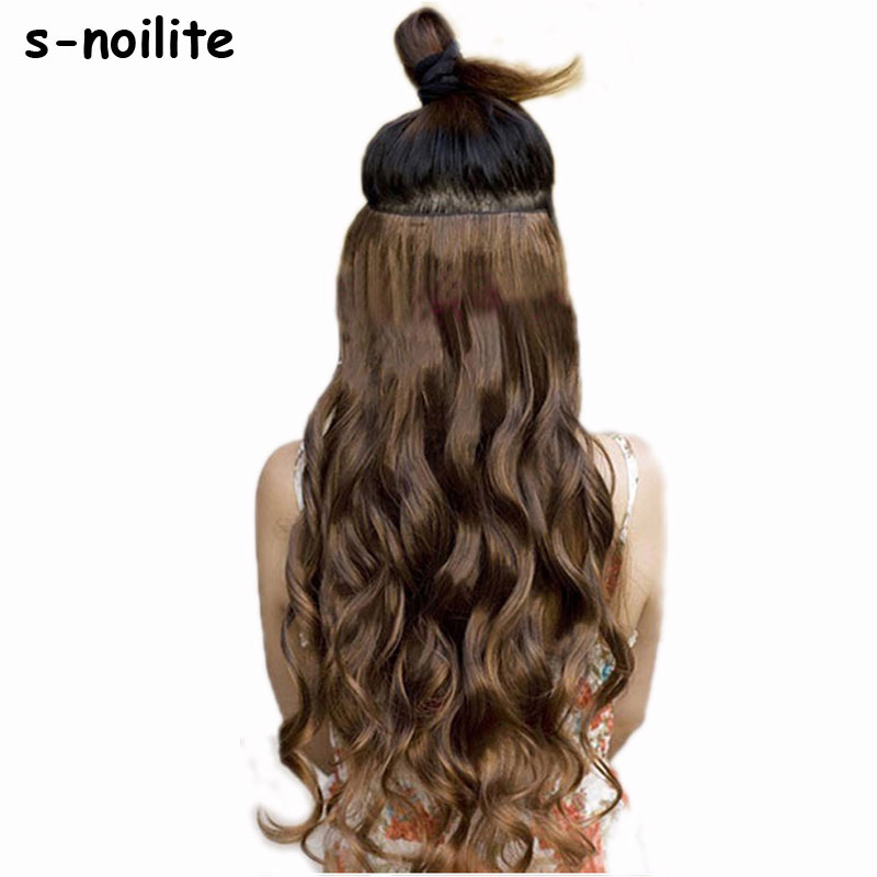 "S-noilit 18-28 ""Curly 3/4 Full Head Clip i hårförlängningar Black Brown Blonde Real Natural Synthetic One Piece for Human"