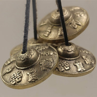 Religious Instruments Mini Hanging Decor Copper Hand Cymbals Nepal Pure Hand Cranked Buddhist Supplies Bronze Cymbals Crafts