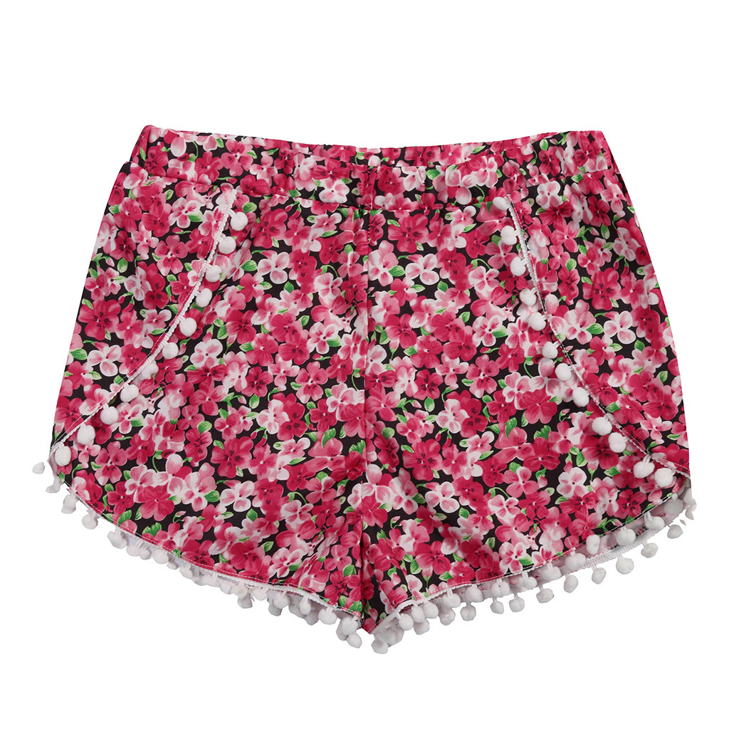 4 SIzes Flora Women Shorts Red Summer Shorts White Tassel Ladies Shorts Pocket Elastic Waist Loose short femme été szorty damski