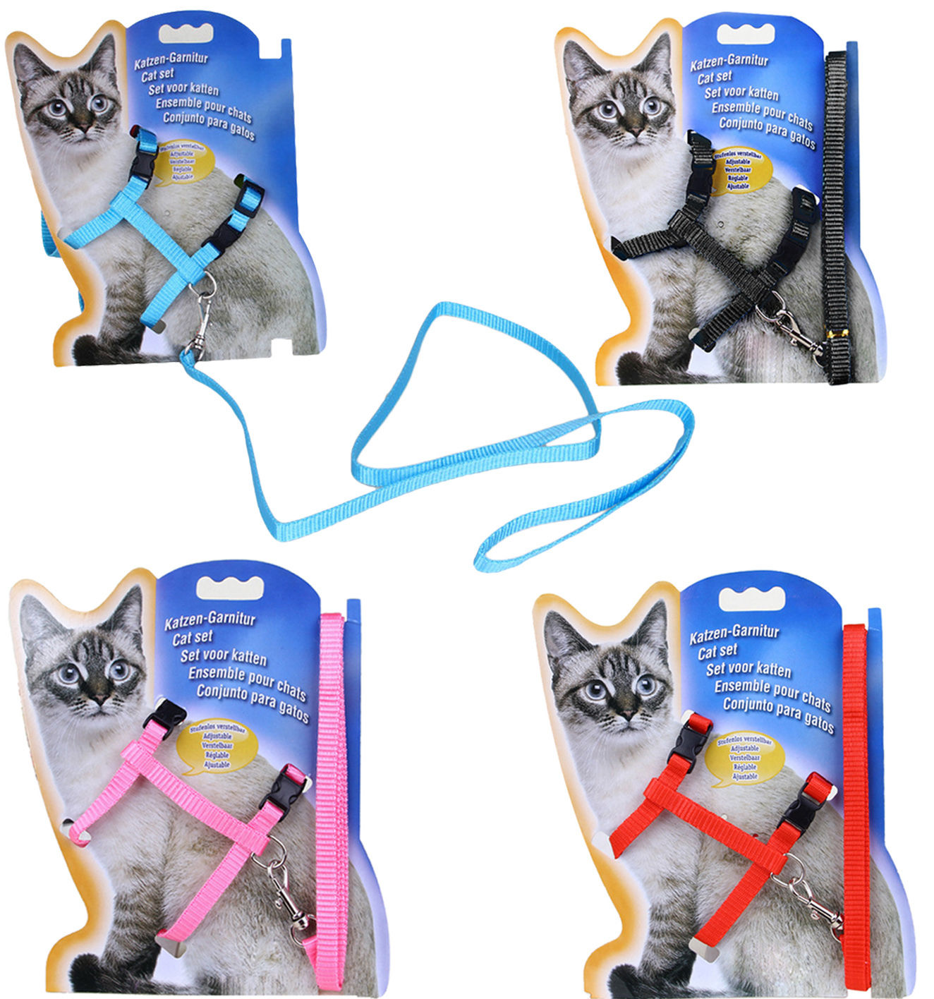 Bayppy Cat Set Puppy Leash Justerbar Harness Collar Nylon Rope Ledningssäkerhet Walking Bröstband för Cat Small Animal Pet 4 Färg