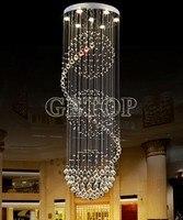 Z современный k9 кристалл Хрустальные люстры огни спираль Дизайн лампы для гостиной Droplight лестница света подвесной светильник led