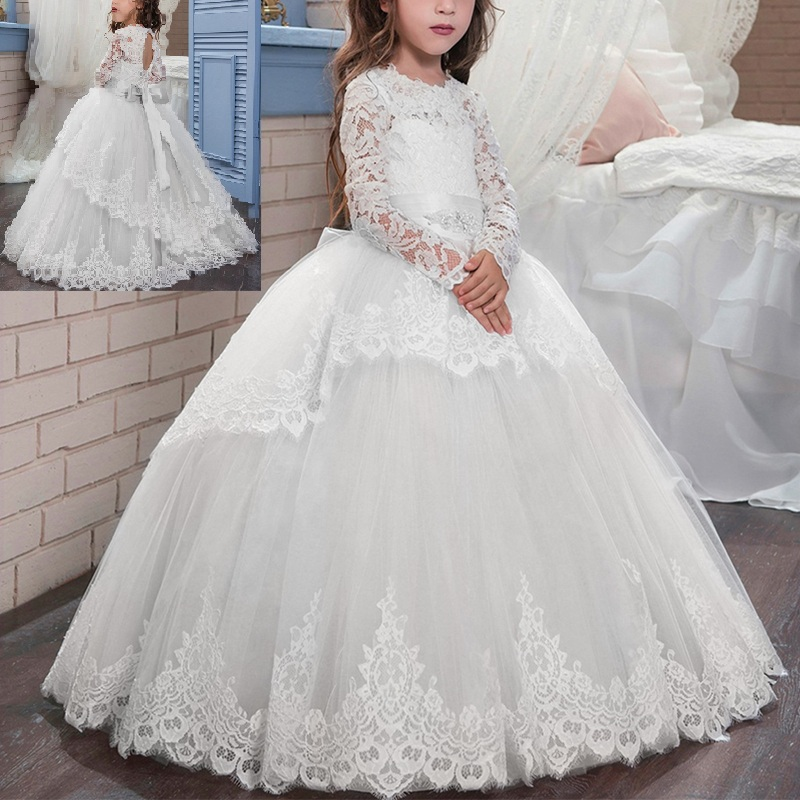 Elegant Girls Dress Baby Kids Prom Puffy Tulle Ball Gown Dress Vintage Wedding Evening Party Princess