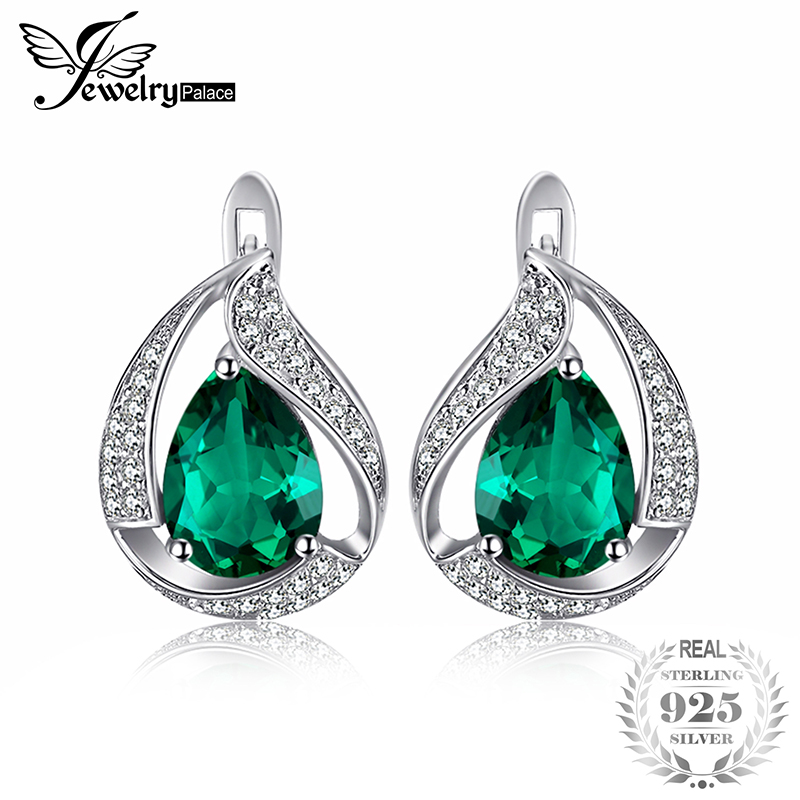 JewelryPalace Charm Water Drop 1.7ct Created Emerald Earrings For Women Solid 925 Sterling Silver Jewelry Nice Jewelry Gift цена
