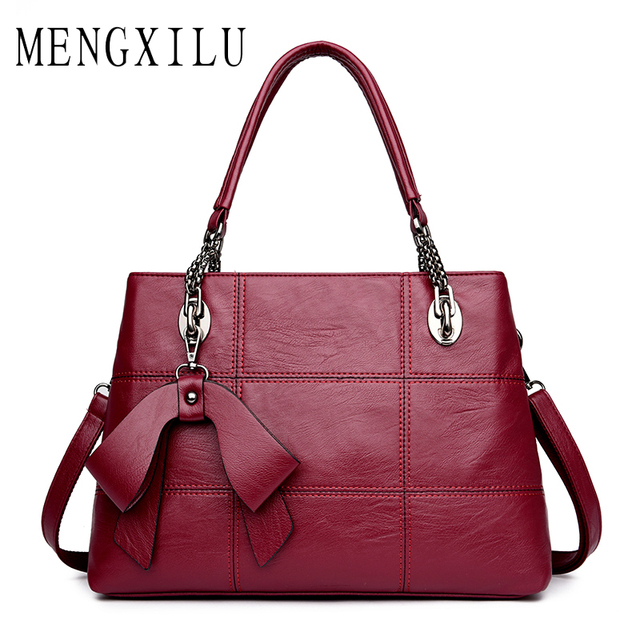 Mengxilu Shoulder Bags 2017 Black Luxury Handbags Women Bag Designer Casual Tote Pu Leather Famous Brand