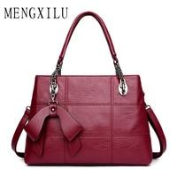 MENGXILU Shoulder Bags 2017 Black Luxury Handbags Women Bag Designer Casual Tote PU Leather Famous Brand Kabelky Soild Bag Class