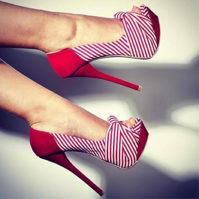 SHOFOO shoes,Brilliant fashion free shipping, striped cloth, about <font><b>15</b></font> cm high <font><b>heels</b></font>, peep toe pumps.<font><b>SIZE</b></font>: 34-45 image