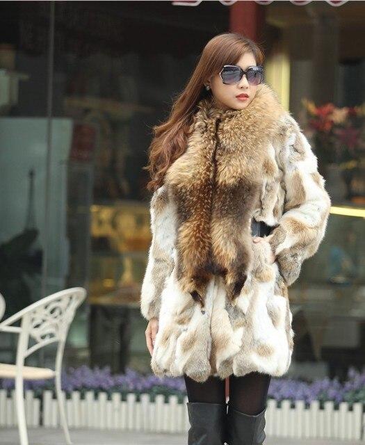 f4160c4ddc4 Free shipping new genuine natural rabbit fur with big raccoon fur collar  women s winter warm real