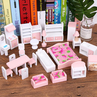 Miniature Furniture for dolls house Wooden dollhouse Furniture sets Educational Pretend Play toys Children kids girls gifts