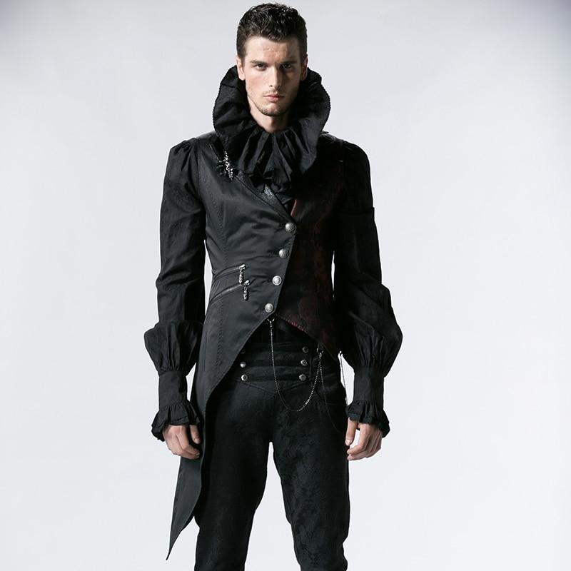فاسق الرجال أكمام صدرية القوطية الرائعة بدوره إلى أسفل طوق سترة واحدة الصدر صدرية الأسود غير المتماثلة صدرية-في سترات وصدريات من ملابس الرجال على  مجموعة 1