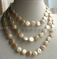 FREE SHIPPING>>>@@> N1621 freshwater pearl champagne coin 11 13mm necklace 46 Bride jewelry free shipping