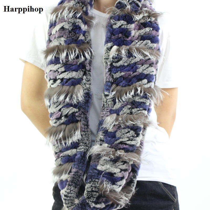 Women's   Scarves     Wraps   Winter Handmade Knit Rex Rabbit Fur Long   Scarf   For Women Winter Neck Warmer Scarfs Shawls Female