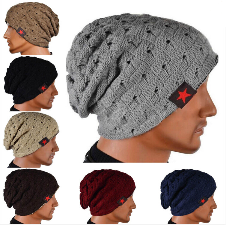 Winter Warm New Fashion Men Skull Chunky Women Knit Beanie Reversible Baggy Cap Warm Unisex Hat HB88 hot winter beanie knit crochet ski hat plicate baggy oversized slouch unisex cap
