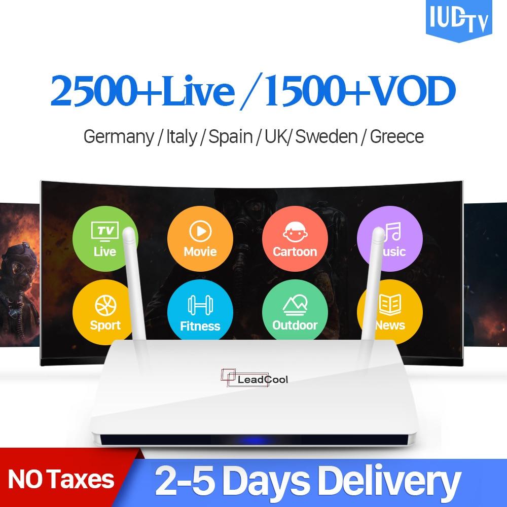 IPTV Svezia Box Leadcool Android 7.1 TV Box con 1 Anno IUDTV Conto IPTV Italia Spagna Turchia Polonia REGNO UNITO Arabo IP TV Top Box
