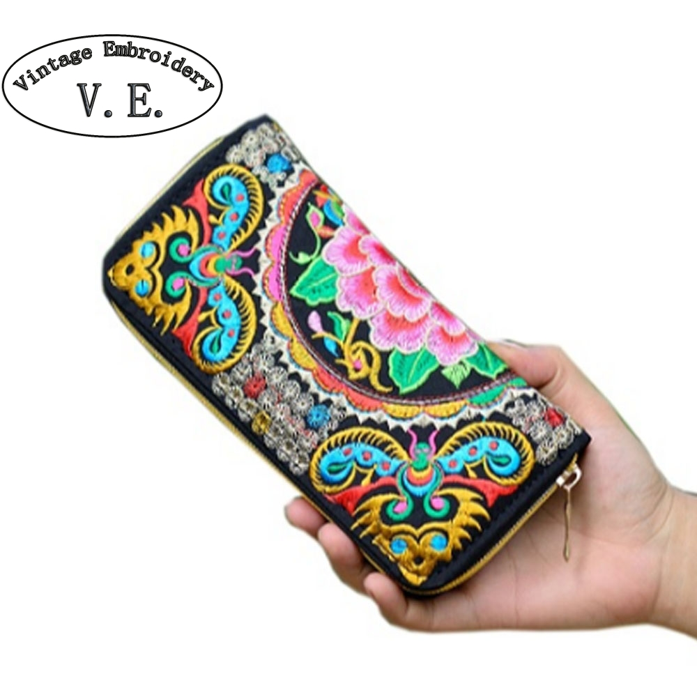 Vintage Embroidery Wallet Women Wallet National Double Faced Embroidered Long Canvas Zipper Coin Bag Small Purse Card Holder vintage embroidery women flats chinese floral canvas embroidered shoes national old beijing cloth single dance soft flats