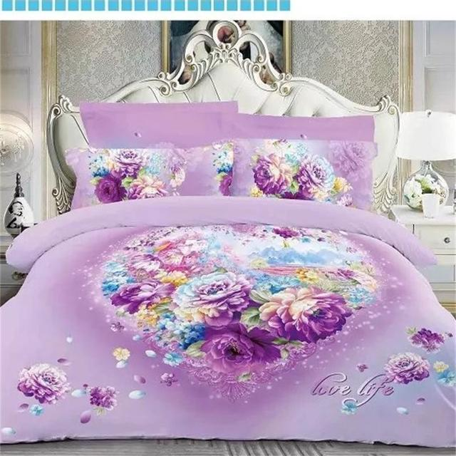 Heart Shaped Peony Rose Print 3d Bedding Sets Queen King Size 100