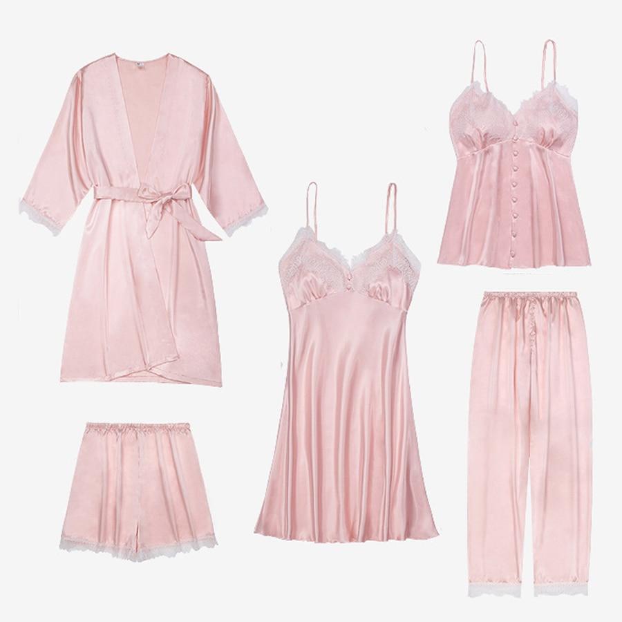 5 Pieces Women's   Pajamas     Sets   Sexy Sleepwear   Set   For Women Spaghetti Strap Pyjama Satin Femme Lace Silk Pijama Woman Short Pink