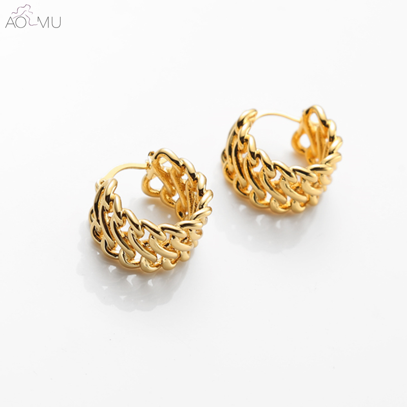 Us 2 8 15 Off Aomu 2019 Simple Design Gold Metal Hollow Out Wide Round Circle Weave Chain Small Hoop Earrings For Women Huggie In