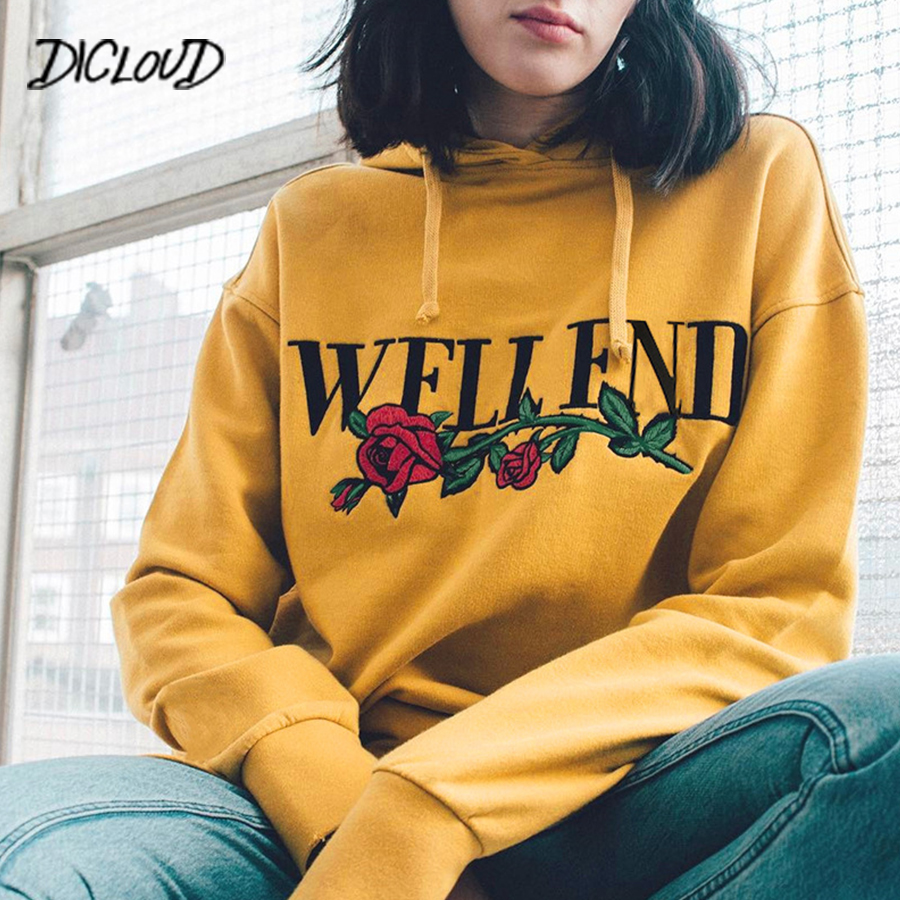 DICLOUD 2018 New Autumn Print Hoodie Woman Fashion Streetwear Loose Yellow Sweatshirts Women Harajuku Letter Flowers Casual Tops