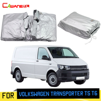 Cawanerl Car Cover Anti-UV Outdoor Sun Rain Snow Protection MPV Cover With Anti-Theft Lock For Volkswagen Transporter T5 T6