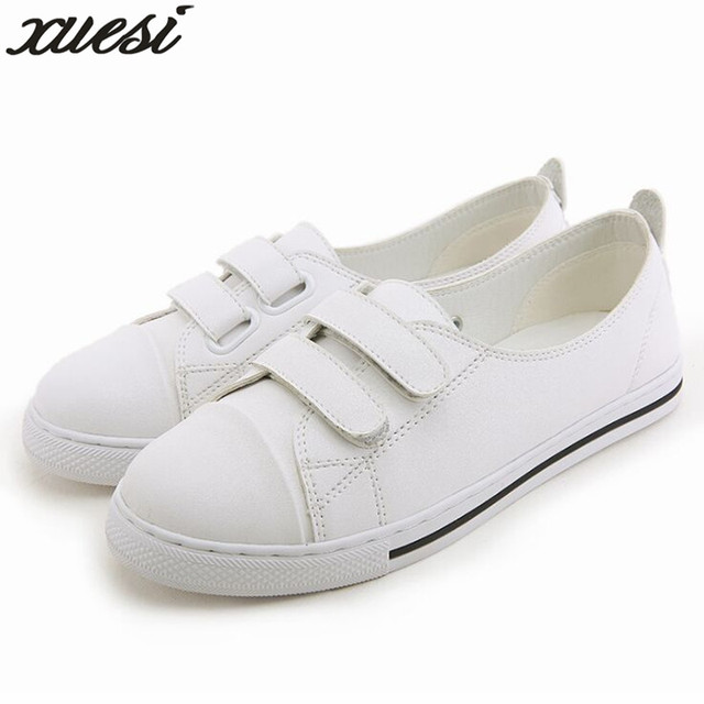 8edb113d24f99 US $23.68 21% OFF|Platform Shoes Leather Women Shoes Zapatos Mujer  Chaussure Femme Skechers Shoes Schuhe Damen Leather Flats 32 43  Rhinestone-in ...