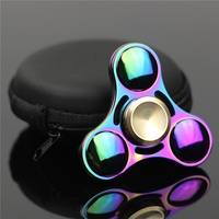 Pattern Colorful Hand Tri Spinner Fidgets Toys Alloy EDC Sensory Fidget Spinners For Autism And Kids