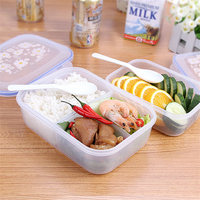 Hot Sale Fashion High Capacity Dinnerware Sets PP Bento Lunch Box Food Container Handle Singel Layer
