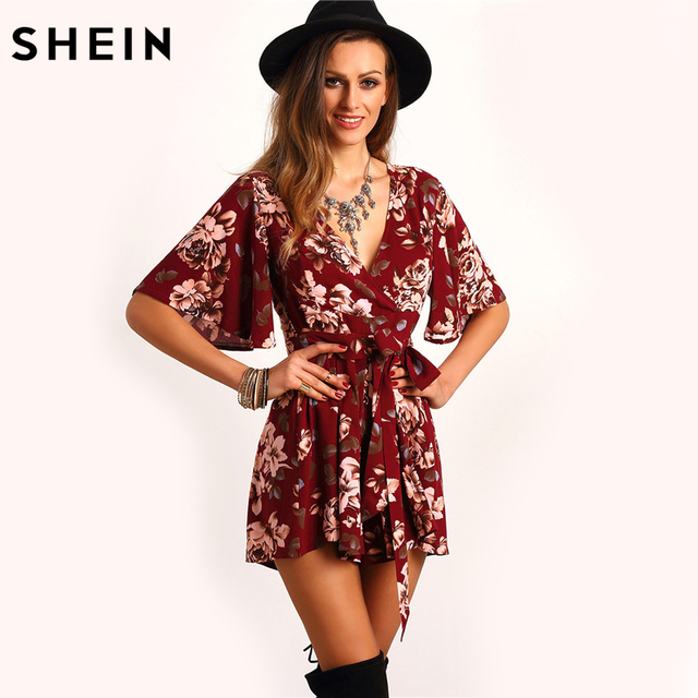 ae1153095a11 SHEIN Shorts Rompers Womens Jumpsuits Summer Ladies Red Sexy Deep V Neck  Short Sleeve Floral Tie