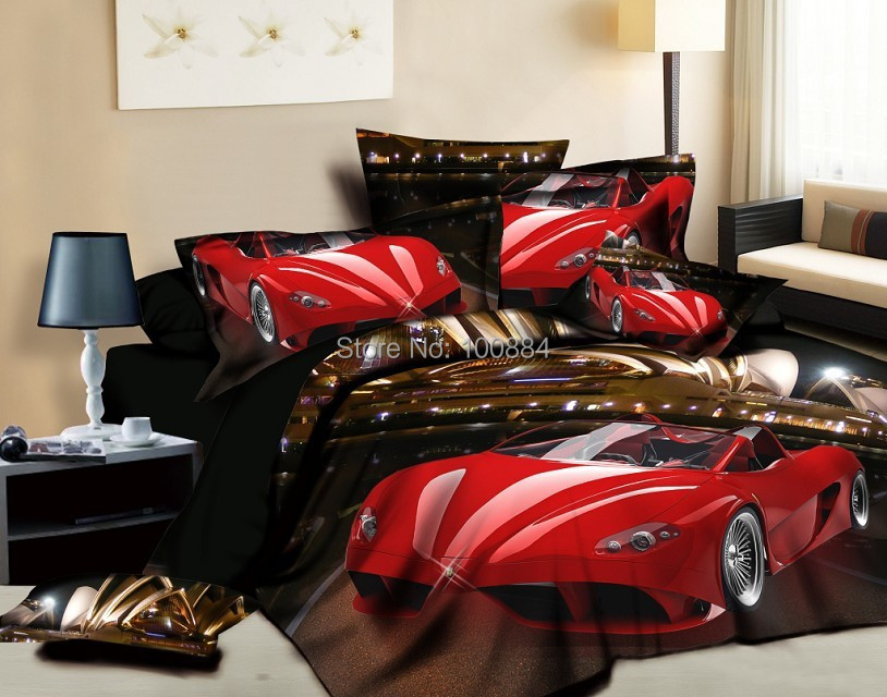Hot Red Cars Bedding Queen Size,4pc Duvet Cover Without Filler,cars  Bedspreads For