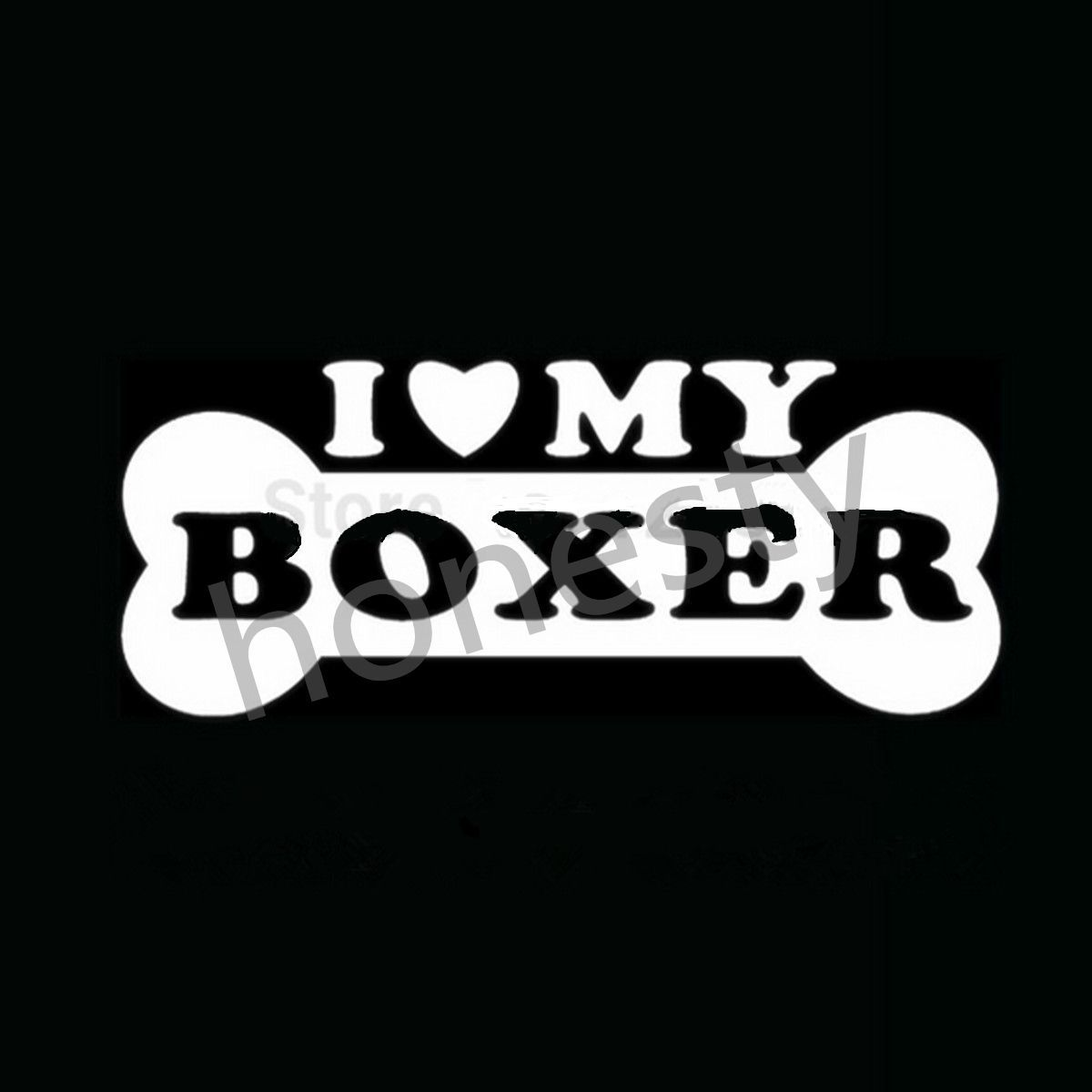 I LOVE MY BOXER Sticker Family Puppy Animal Dog Decal for Car Rear Windshield ...