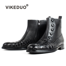 VIKEDUO 2019 Autumn New Ankle Calf Leather Boots Men Black Round Toe Shoes Handmade Office Motorcycle Bespoke Botas