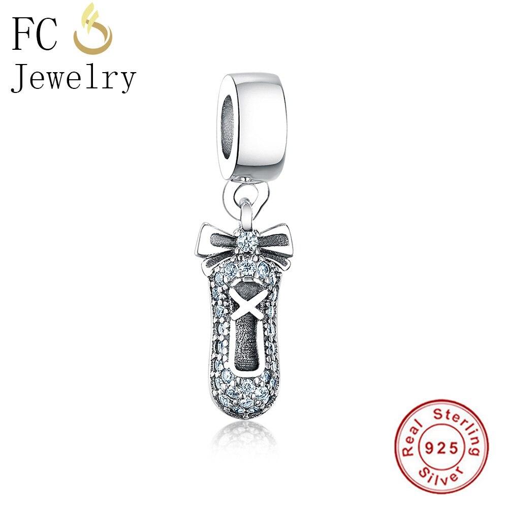 FC Jewelry Fits Original Pandora Charms Bracelets 925 Silver Friendship Shoes Mix Pave CZ Hanging Beads for Making Berloque DIY