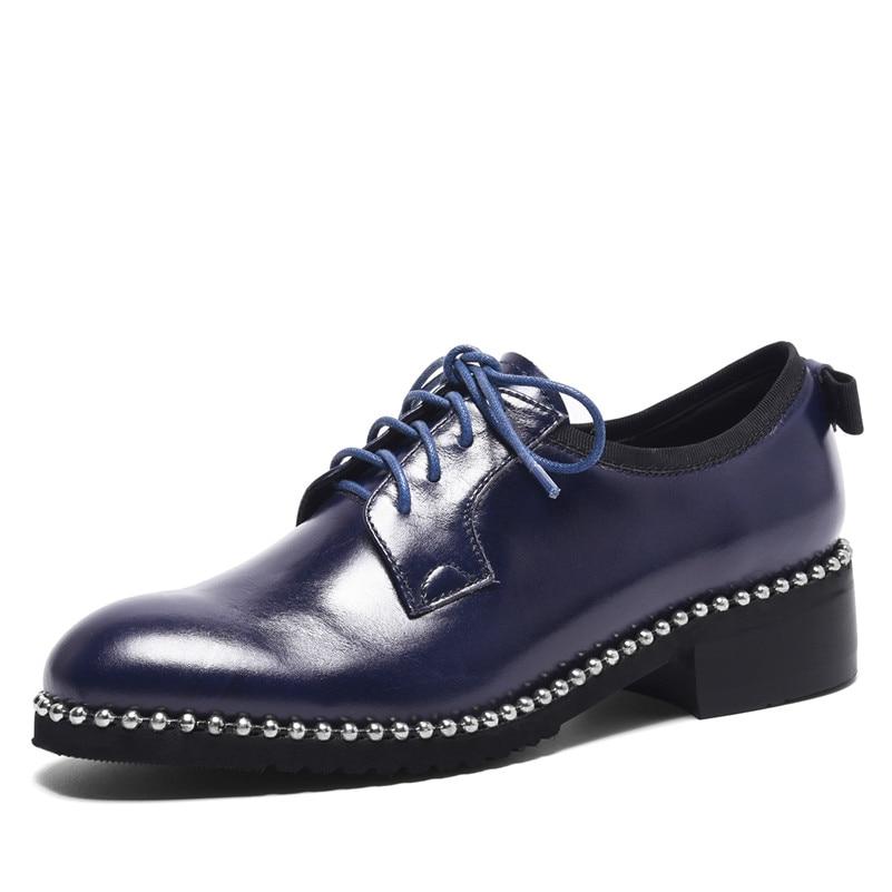 azul De Retro Grueso Confort Remaches Genuino Tacón Zapatos Punk Fedonas Cuero Mujer Mujeres Sexy Negro 1 Casual Bombas qxApw4a6X