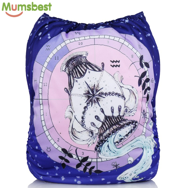 [Mumsbest] New Baby Cloth Diapers Cover With Microfiber Insert Positioned Digital Pocket Diaper 12 Constellations Cloth Nappy hangqiao baby 3 layers white burp cloths cloth diapers cotton diapers diapers diaper