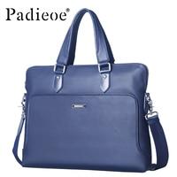 Padieoe Men's Natural Cow Leather Briefcase Top Grain Cowhide Messenger Bags High Quality Business Shoulder Bag