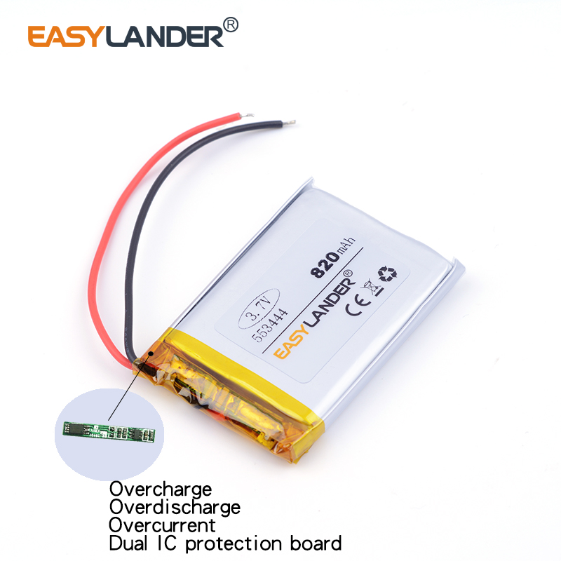 553444 820mah 3.7V lithium rechargeable battery Dual handsome lithium polymer battery MP3 MP4 MP5 small toys medical device