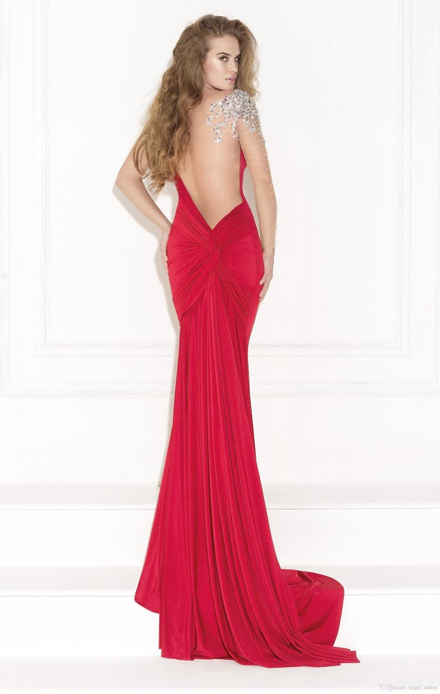 Русалка вечерние платья чистой о-образным вырезом и само назад экипажа красный пром платья-суд поезд бусины одно плечо с длинным рукавом вечерние платья