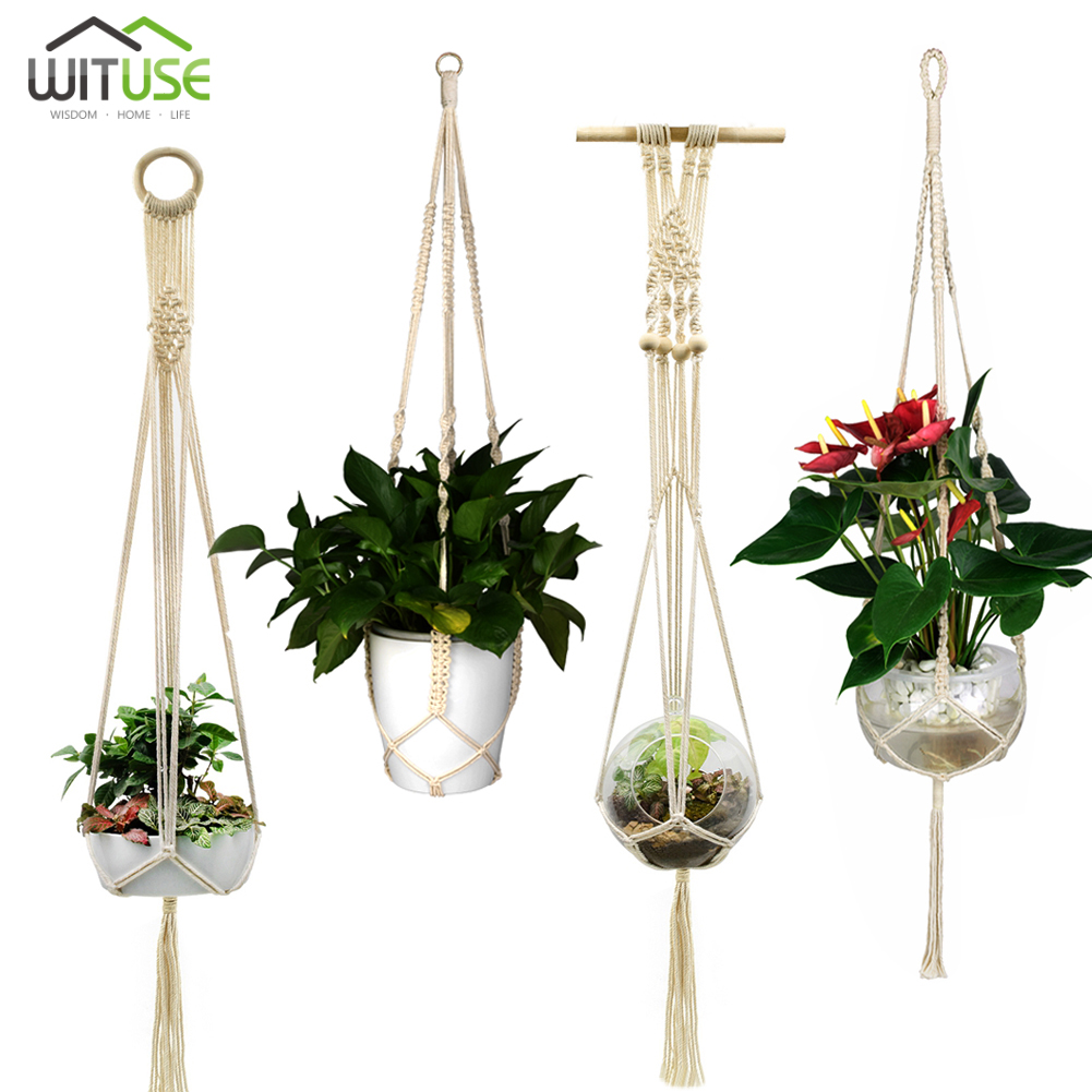 Home & Garden Garden Pots & Planters Punctual Hanging Shelf Macrame Plant Hanger Flower Pot Holder Boho Home Decor with Wood Plate