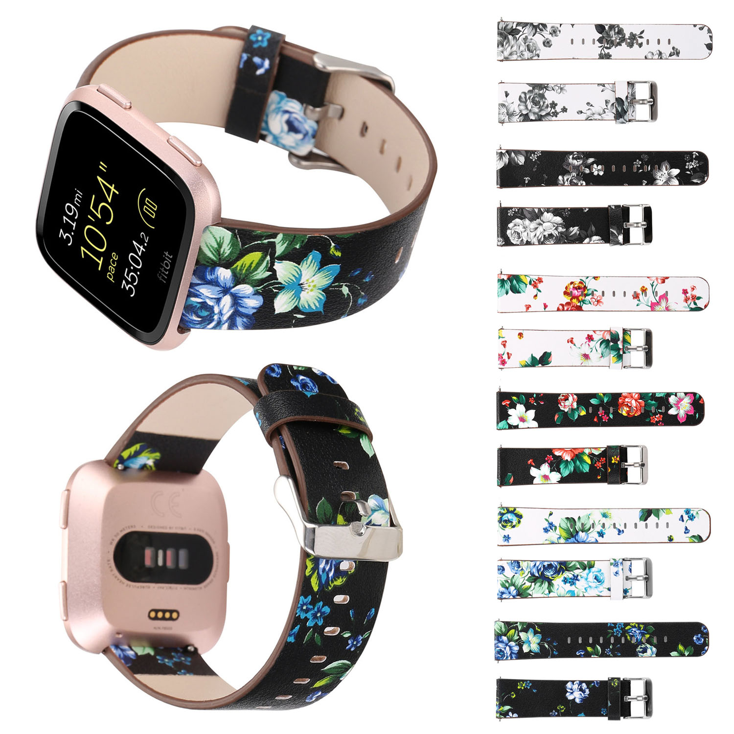 Retro Flower Leather Strap For Fitbit Versa Band Floral Metal Buckle Replacement Watch Bands for Versa Smart Watch Strap w Pins smart watch usb charging box cable for fitbit versa